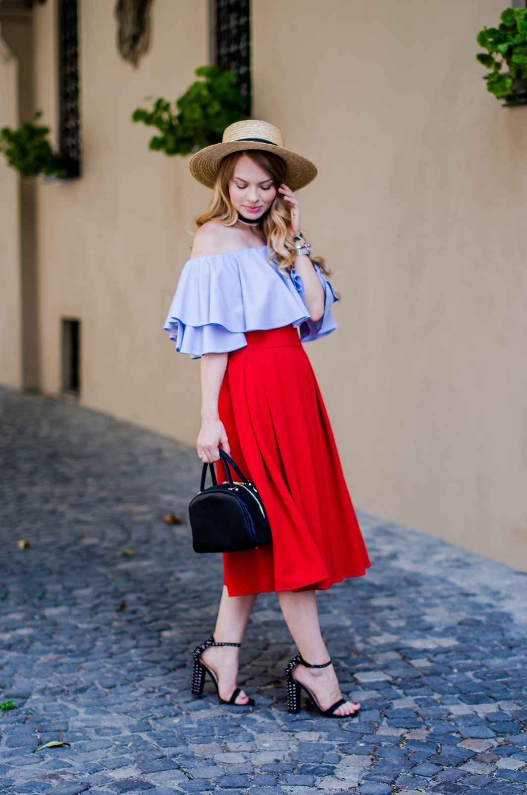 off-shoulder-blouse-red-midi-skirt-straw-hat (8)