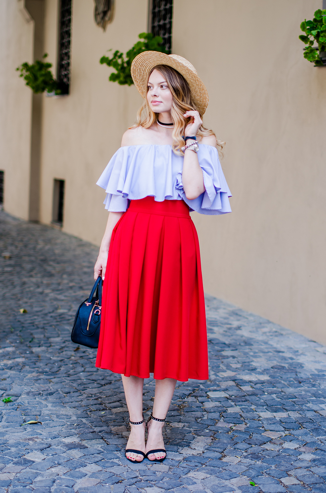 off-shoulder-blouse-red-midi-skirt-straw-hat (9)