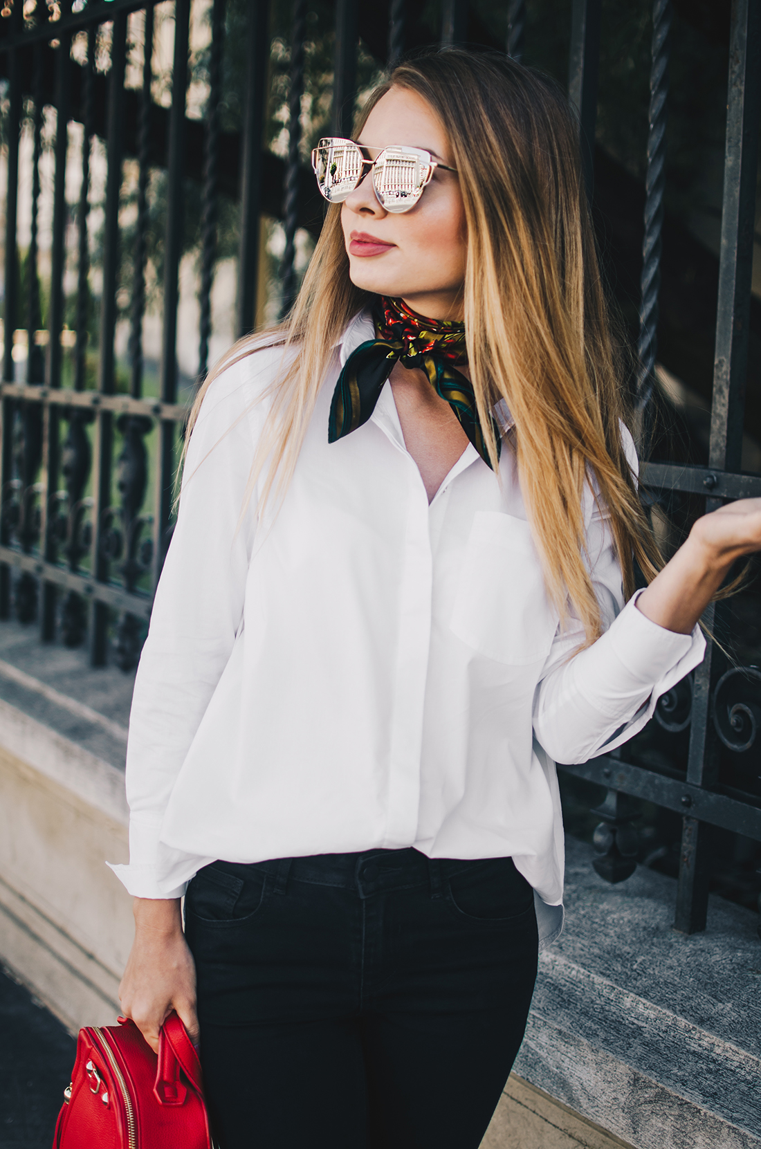 black-and-white-outfit-zerouv-sunglasses-red-bag-vintage-scarf-1