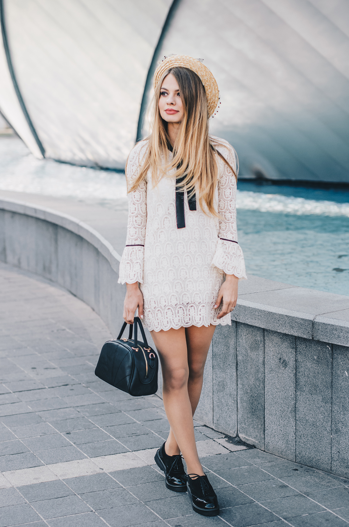 lace-dress-bell-sleeves-straw-hat-oxford-shoes-5