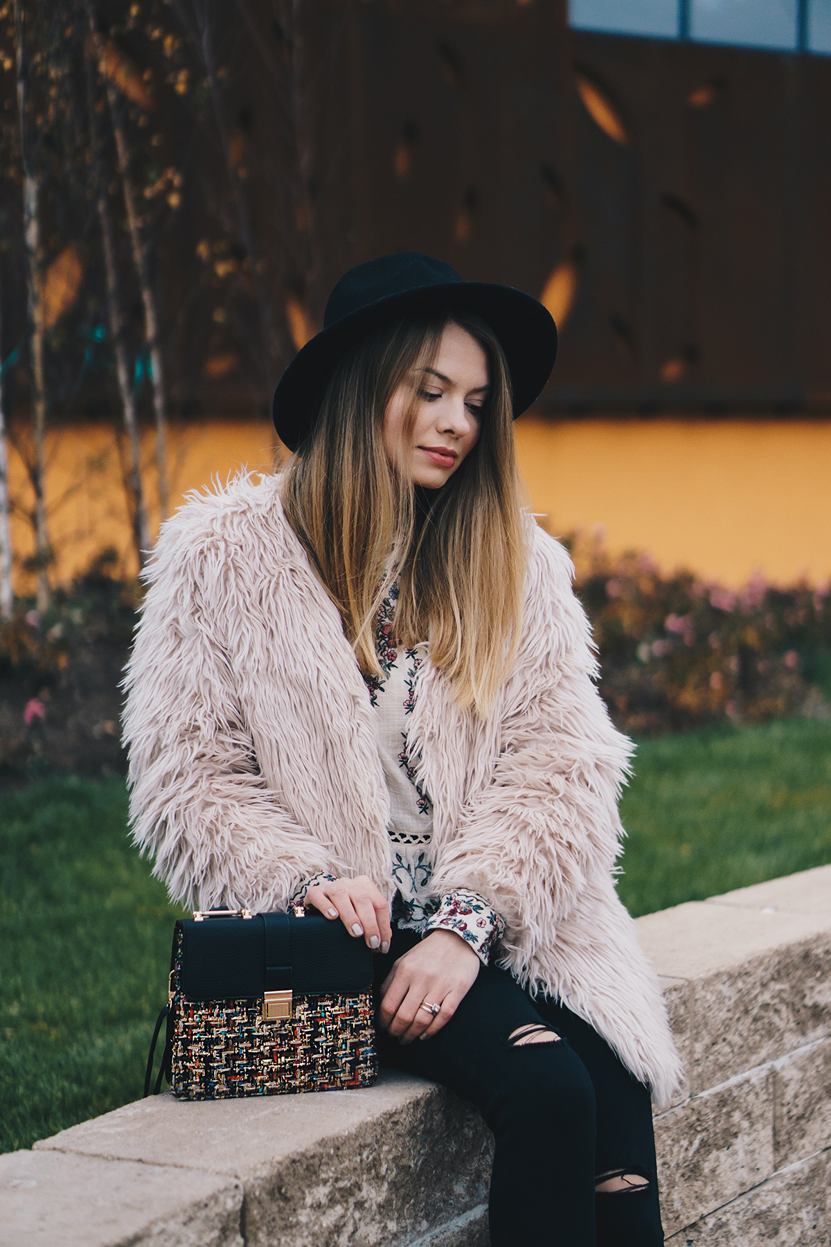 floral-embroidered-blouse-pink-fur-coat-ripped-black-jeans-brogues-winter-outfit-5