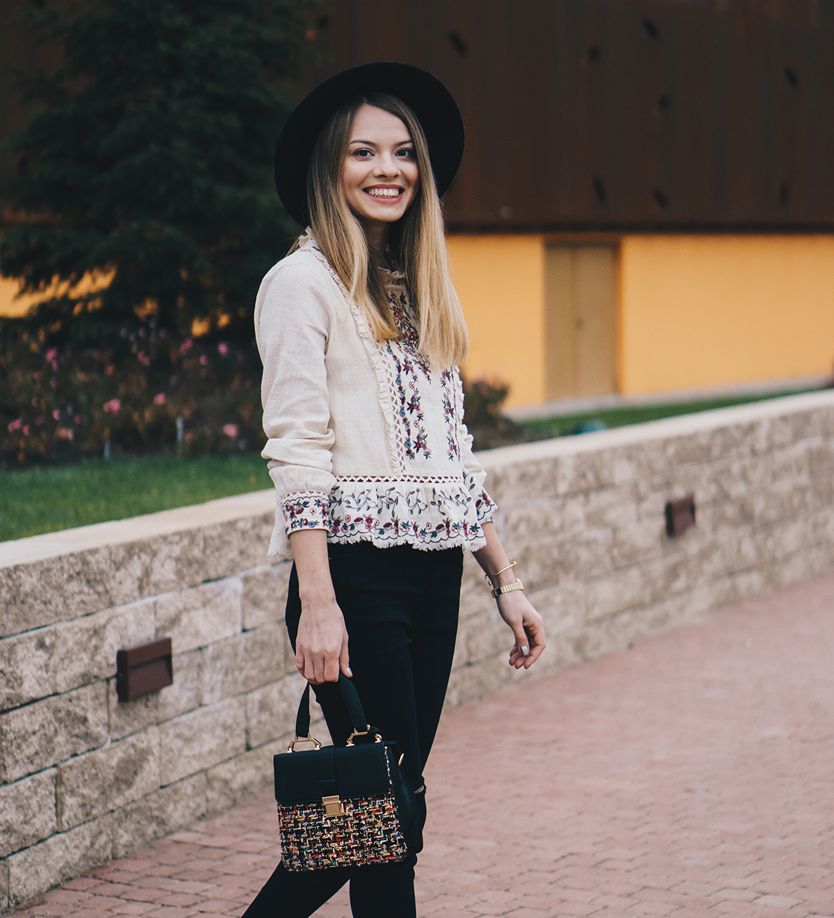 floral-embroidered-blouse-pink-fur-coat-ripped-black-jeans-brogues-winter-outfit-7