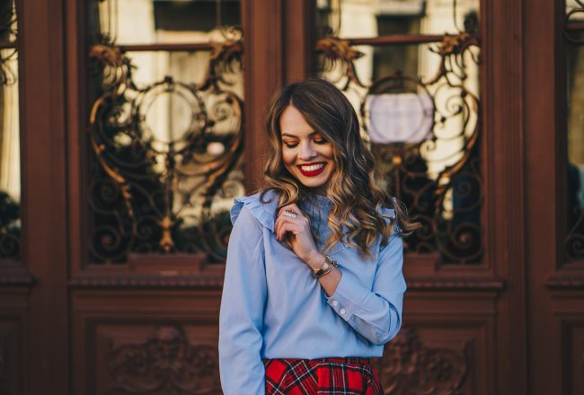 red-plaid-skirt-ruffled-blouse-over-the-knee-boots-christmas-outfit-1