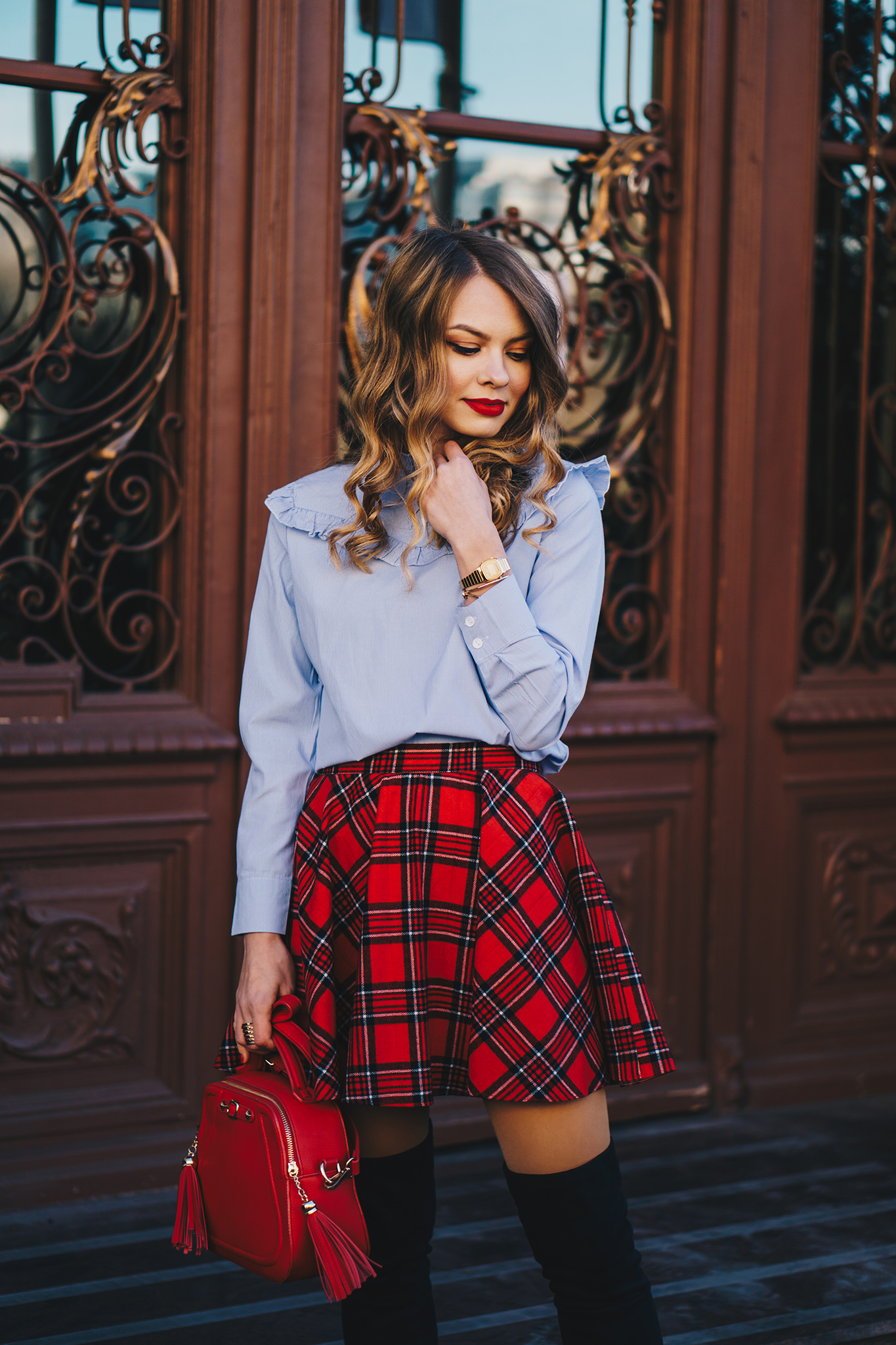 red-plaid-skirt-ruffled-blouse-over-the-knee-boots-christmas-outfit-2