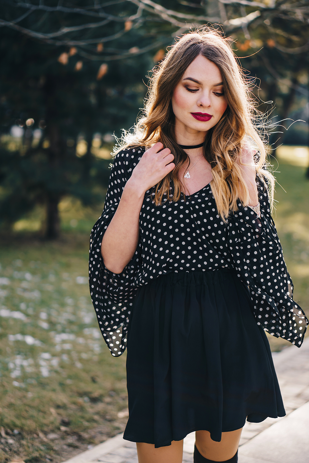 polka-dots-bell-sleeves-blouse-otk-boots-winter-outfit-1