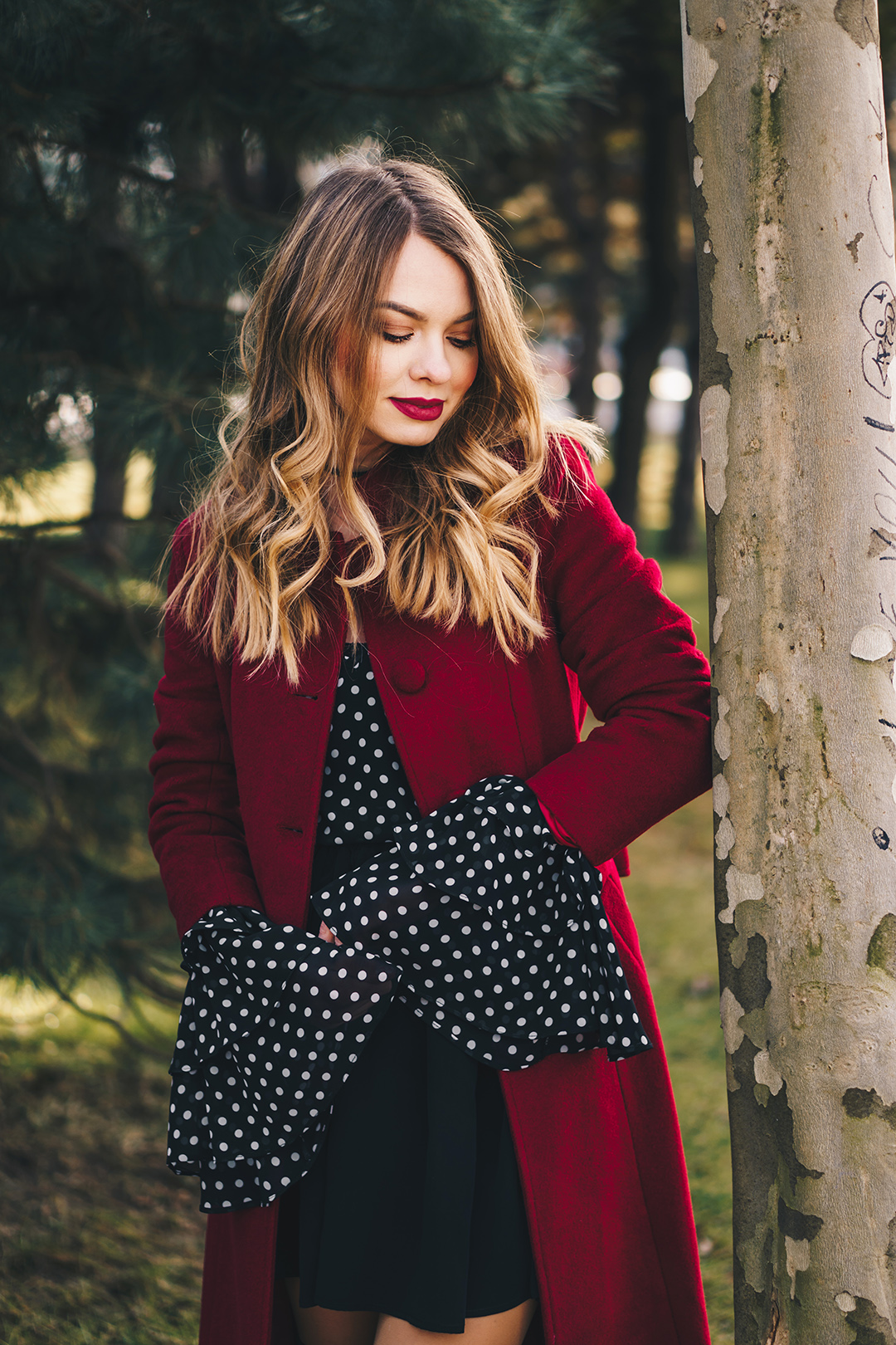 red-wool-coat-polka-dots-bell-sleeves-blouse-winter-outfit-1
