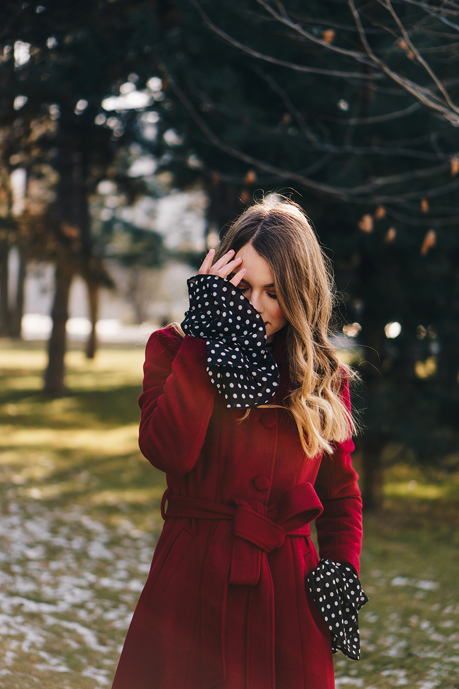 red-wool-coat-polka-dots-bell-sleeves-blouse-winter-outfit-10