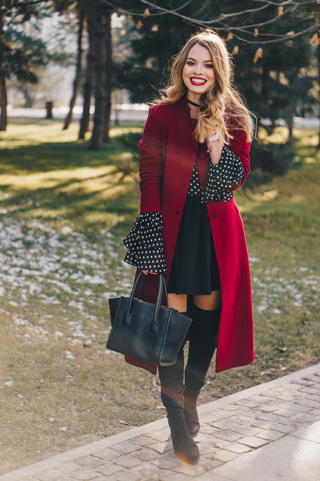 red-wool-coat-polka-dots-bell-sleeves-blouse-winter-outfit-11