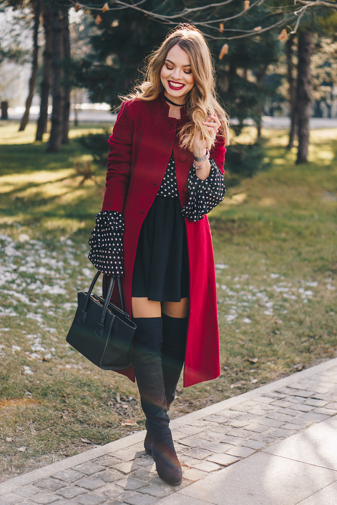 red-wool-coat-polka-dots-bell-sleeves-blouse-winter-outfit-12
