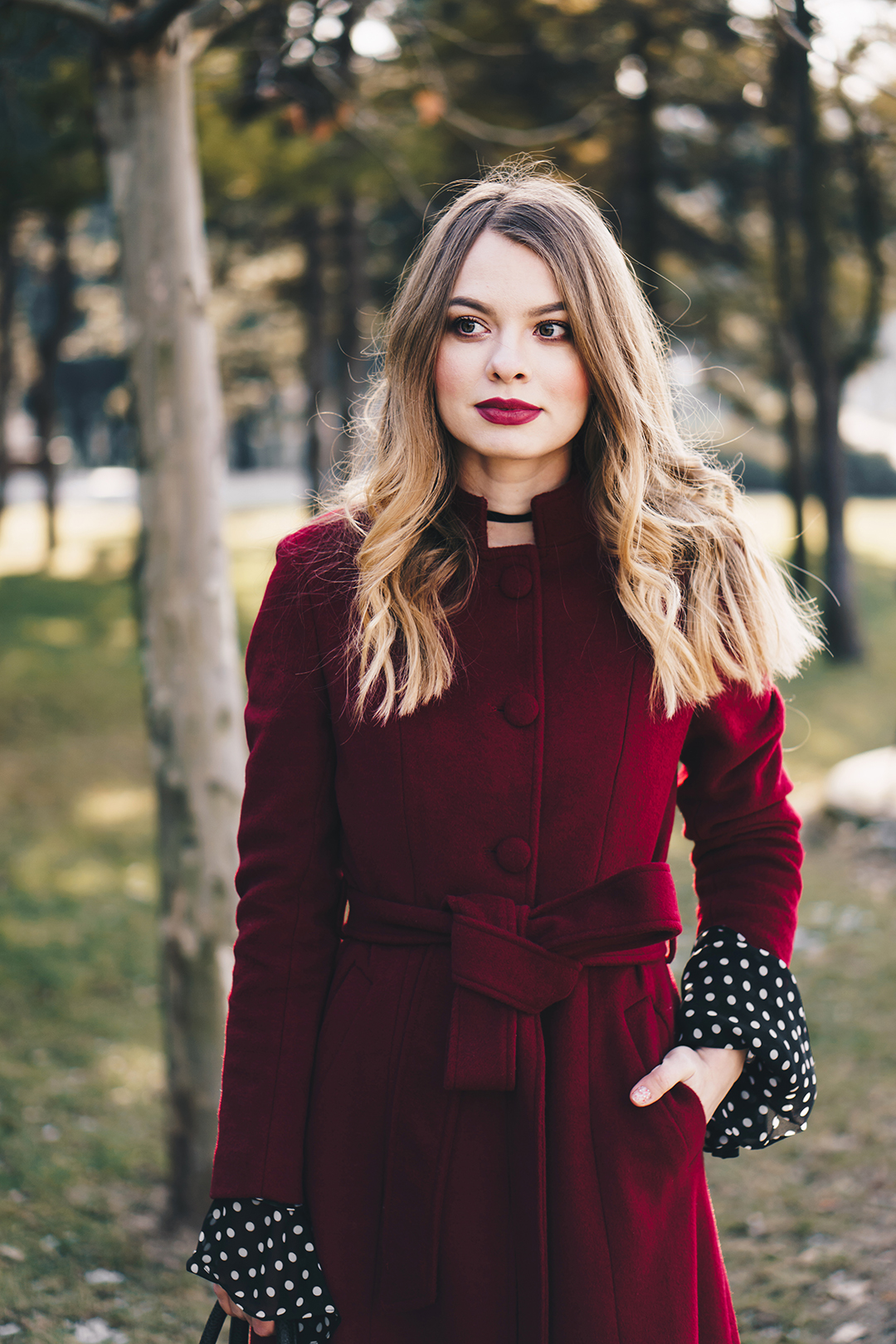 red-wool-coat-polka-dots-bell-sleeves-blouse-winter-outfit-2