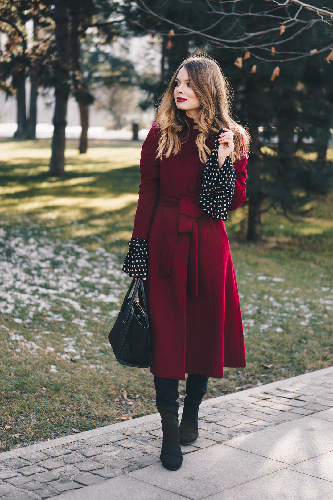 red-wool-coat-polka-dots-bell-sleeves-blouse-winter-outfit-3