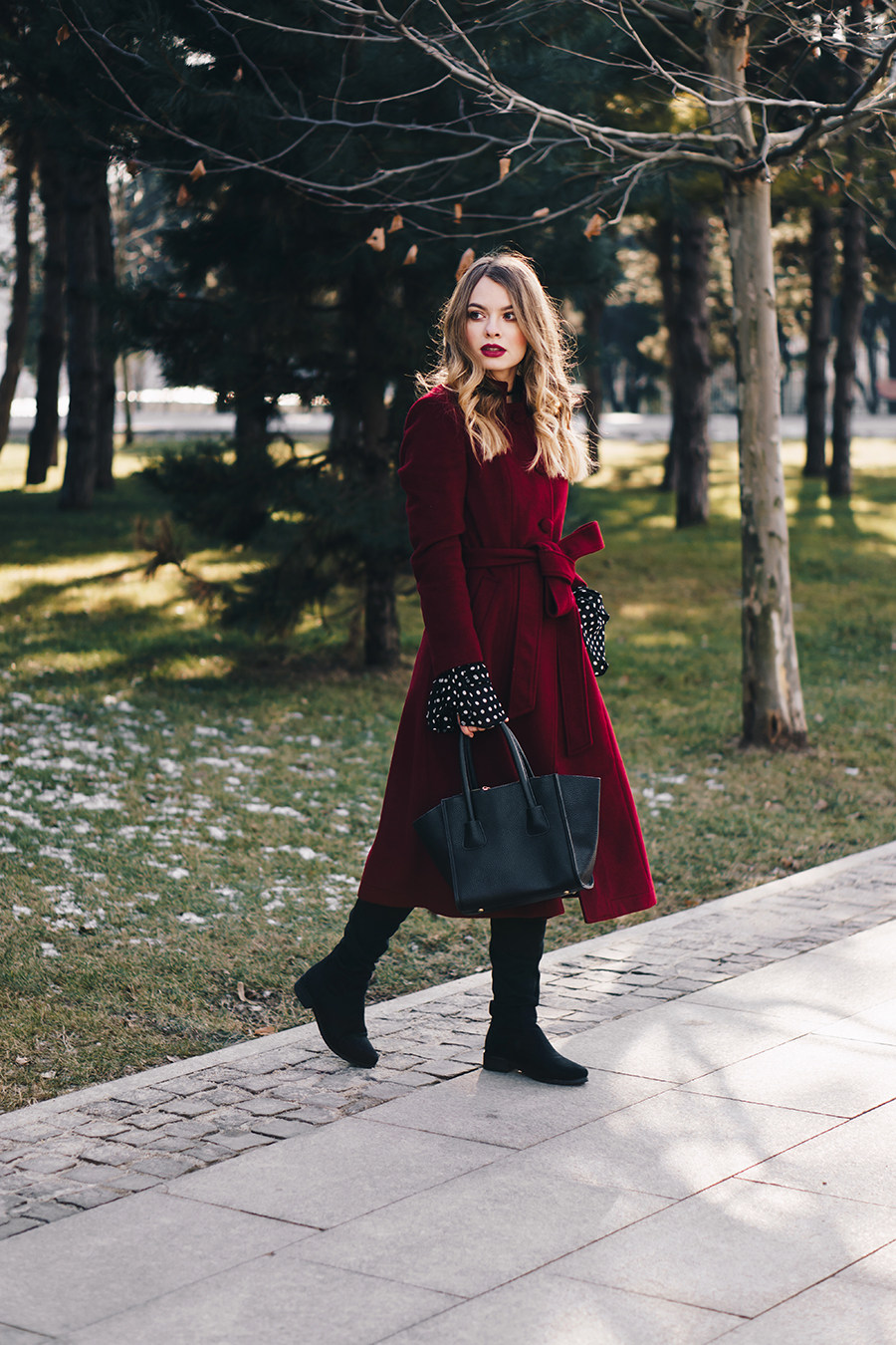 red-wool-coat-polka-dots-bell-sleeves-blouse-winter-outfit-4