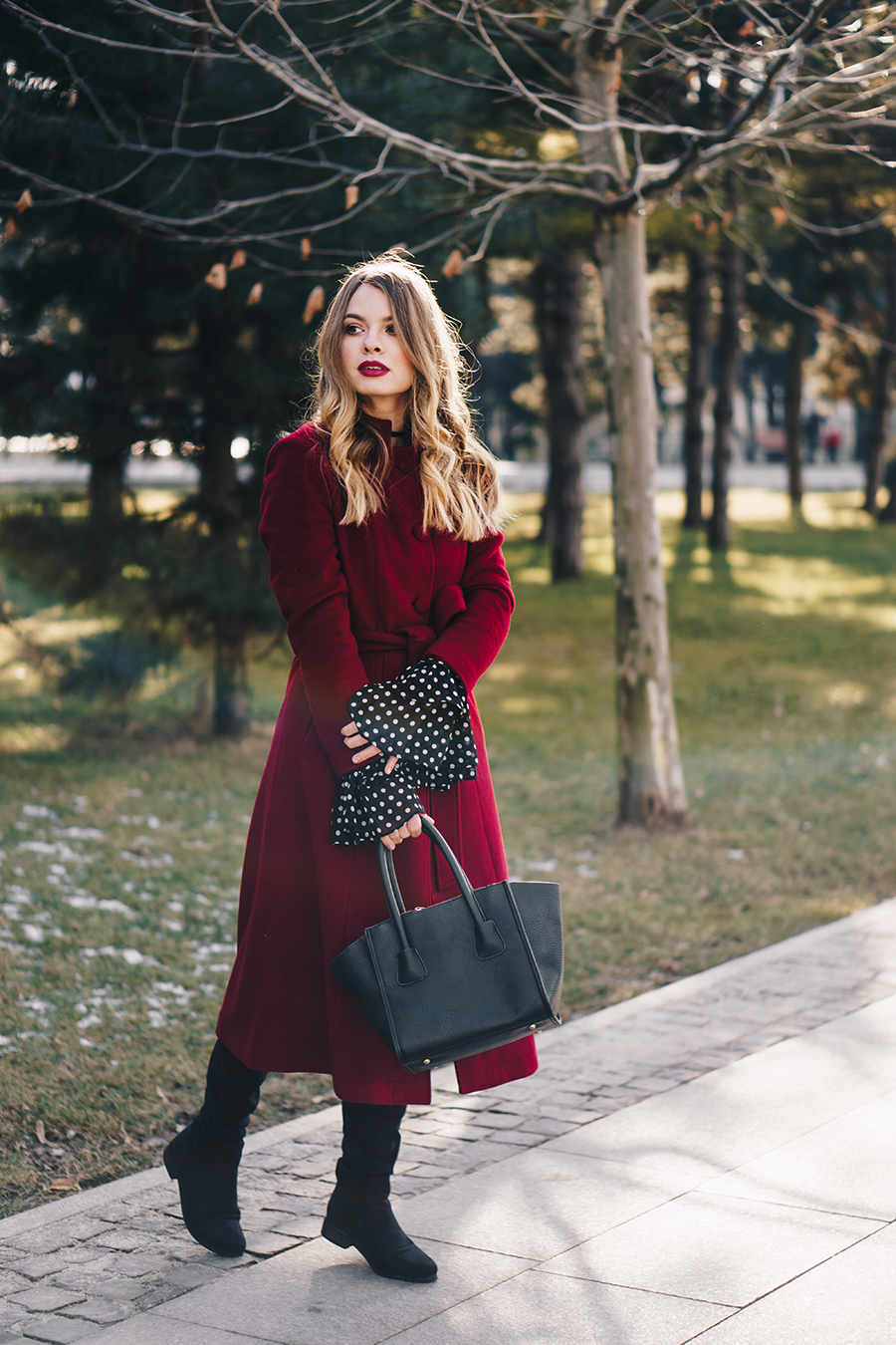 red-wool-coat-polka-dots-bell-sleeves-blouse-winter-outfit-5