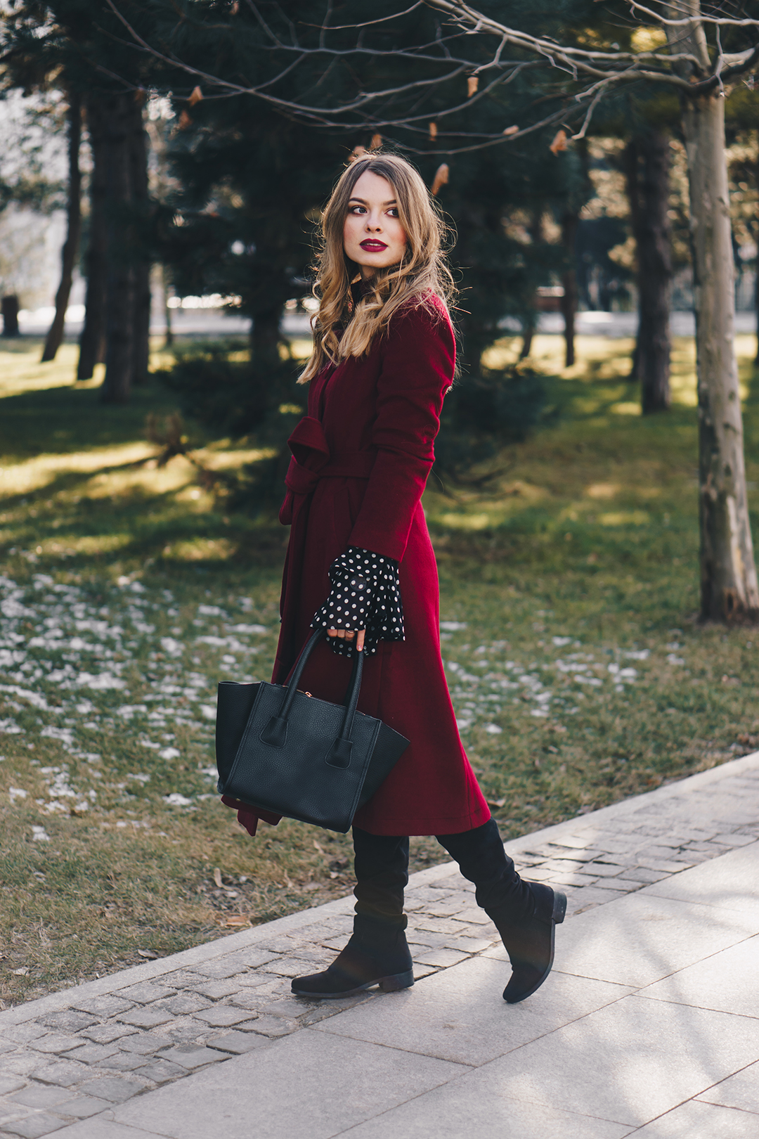 red-wool-coat-polka-dots-bell-sleeves-blouse-winter-outfit-6