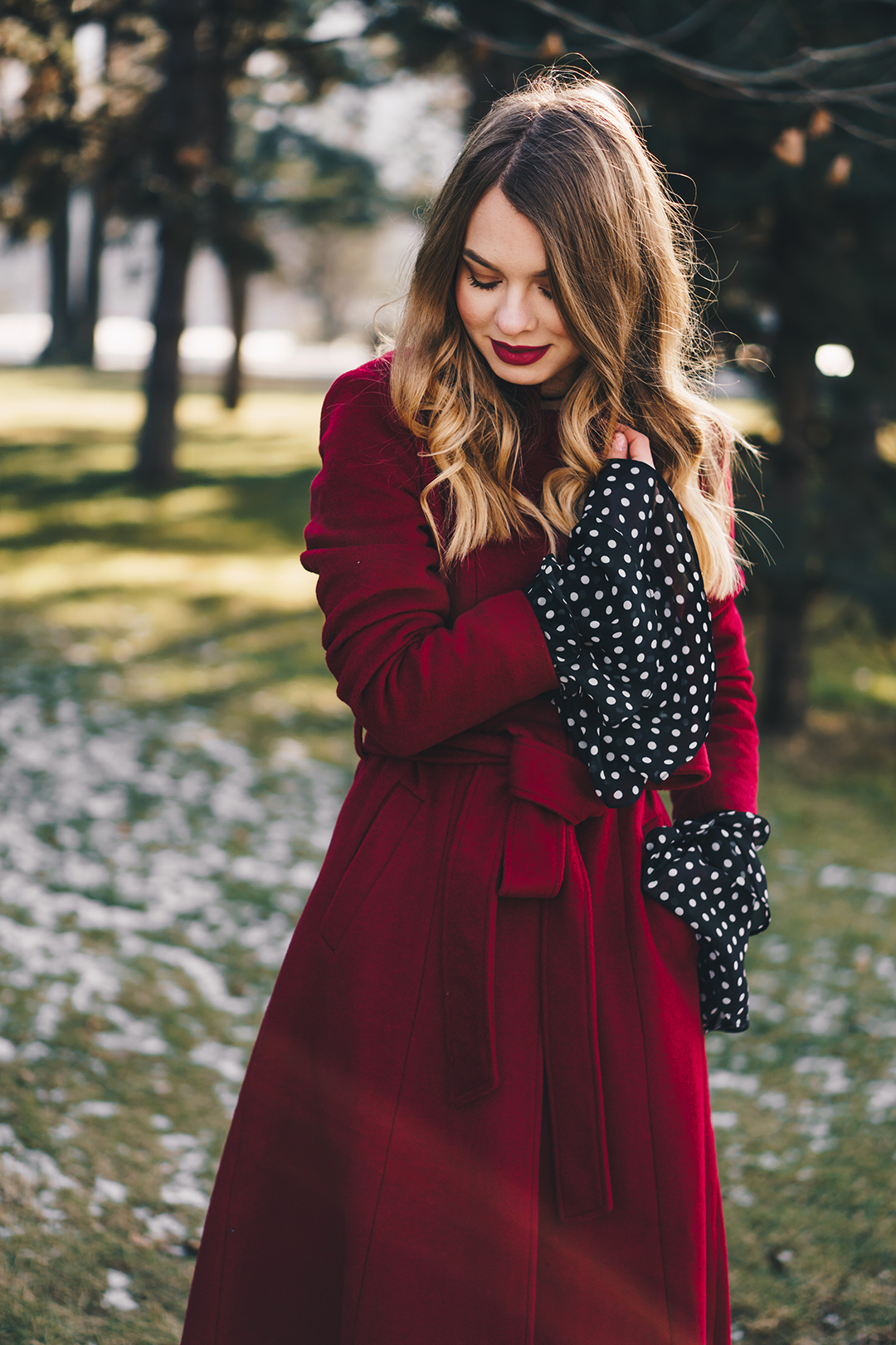 red-wool-coat-polka-dots-bell-sleeves-blouse-winter-outfit-7