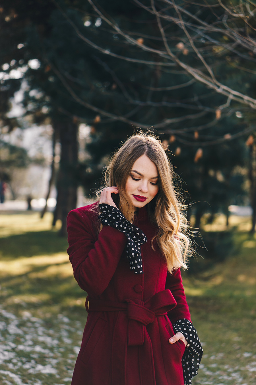 red-wool-coat-polka-dots-bell-sleeves-blouse-winter-outfit-8