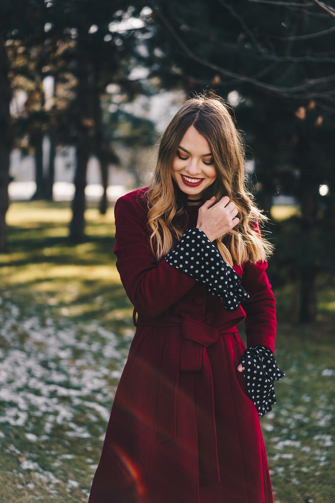 red-wool-coat-polka-dots-bell-sleeves-blouse-winter-outfit-9