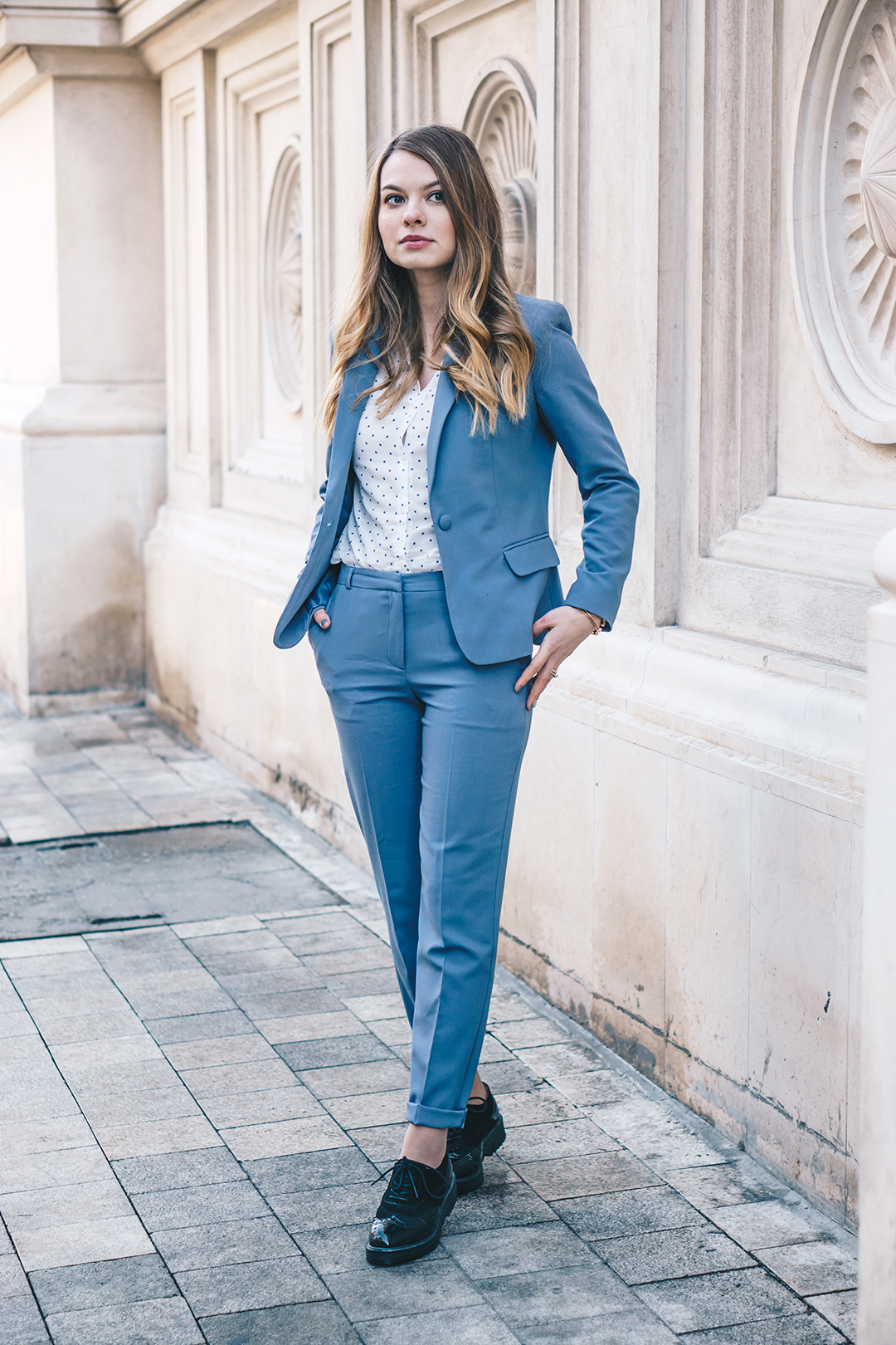 Blue suit :: How to wear it in a more casual way - Pink WishPink Wish