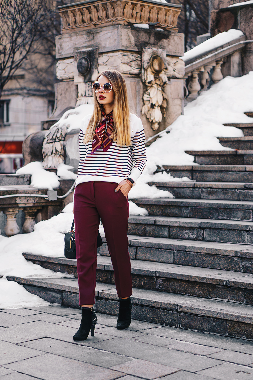 burgundy-office-pants-striped-sweater-pink-wish-outfit (2)