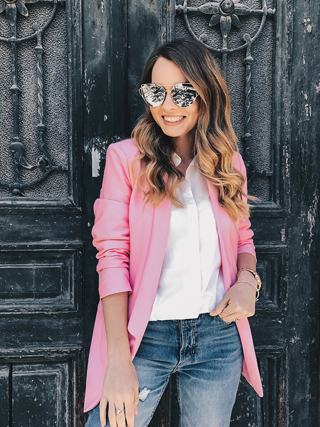 Pink blazer and the white ruffled shirt - Spring outfit ...