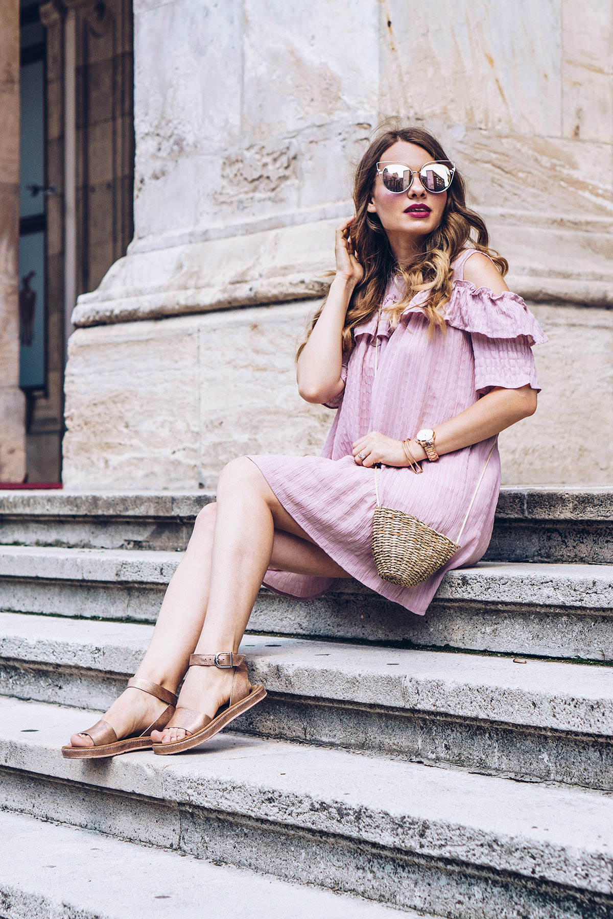 pink-off-shoulder-ruffled-dress-straw-bag-zerouv-sunglasses-clarks-sandals-summer-outfit-pink-wish