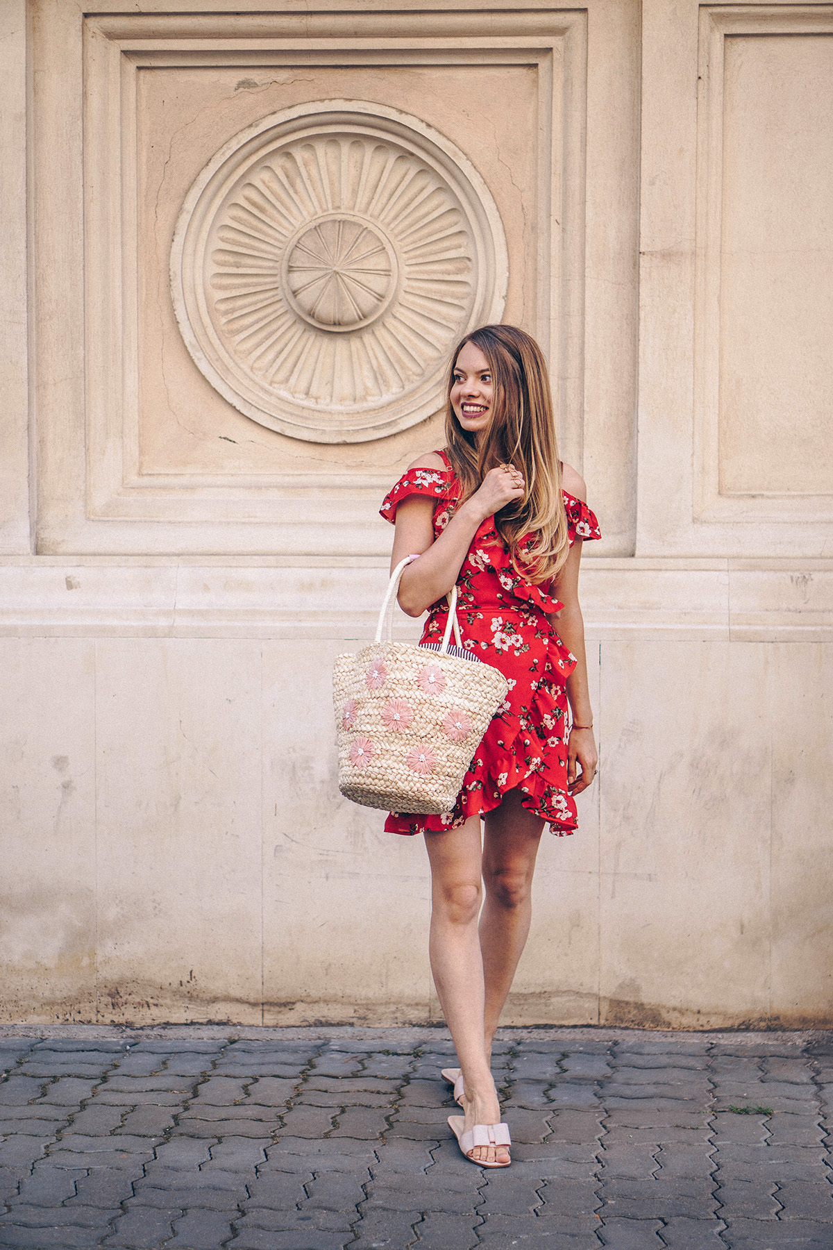 red-floral-wrap-dress-pink-bow-slippers-straw-bag-summer-outfit