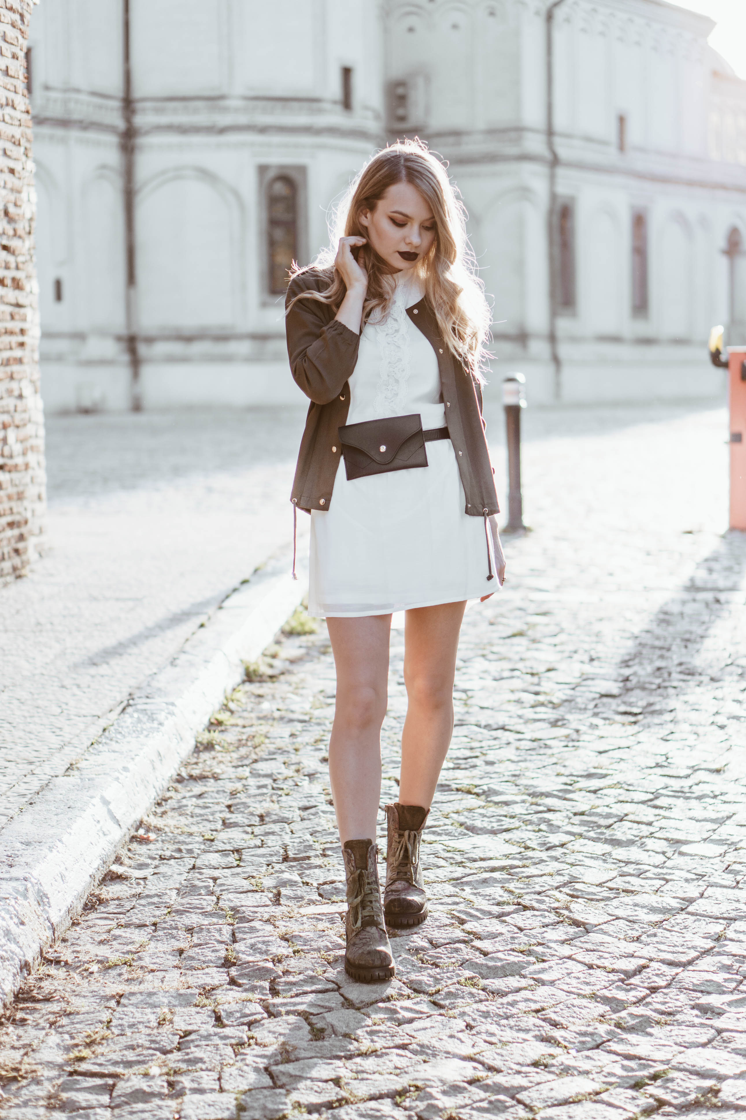 military meets feminine outfit