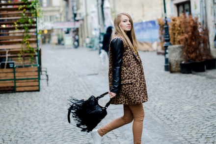 camel pants leopard coat white sneakers