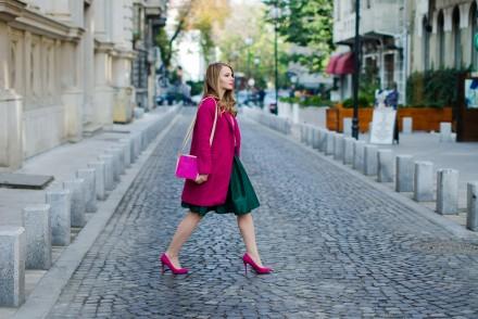 pink coat green midi skirt sheinside pink stiletto mini moon pink and green tartan