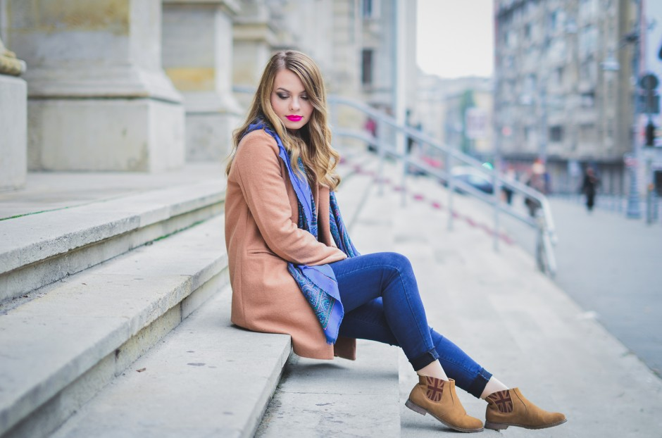 sheinside camel coat blue jeans preppy printed scarf