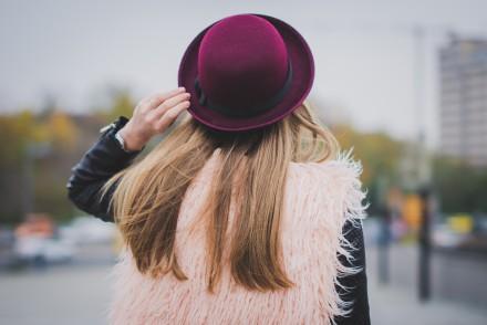sheinside pink fluffy vest burgundy hat pants snake print shirt