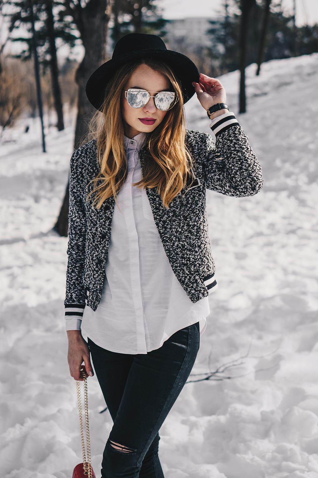 bomber jacket black and white outfit winter. Black Bedroom Furniture Sets. Home Design Ideas